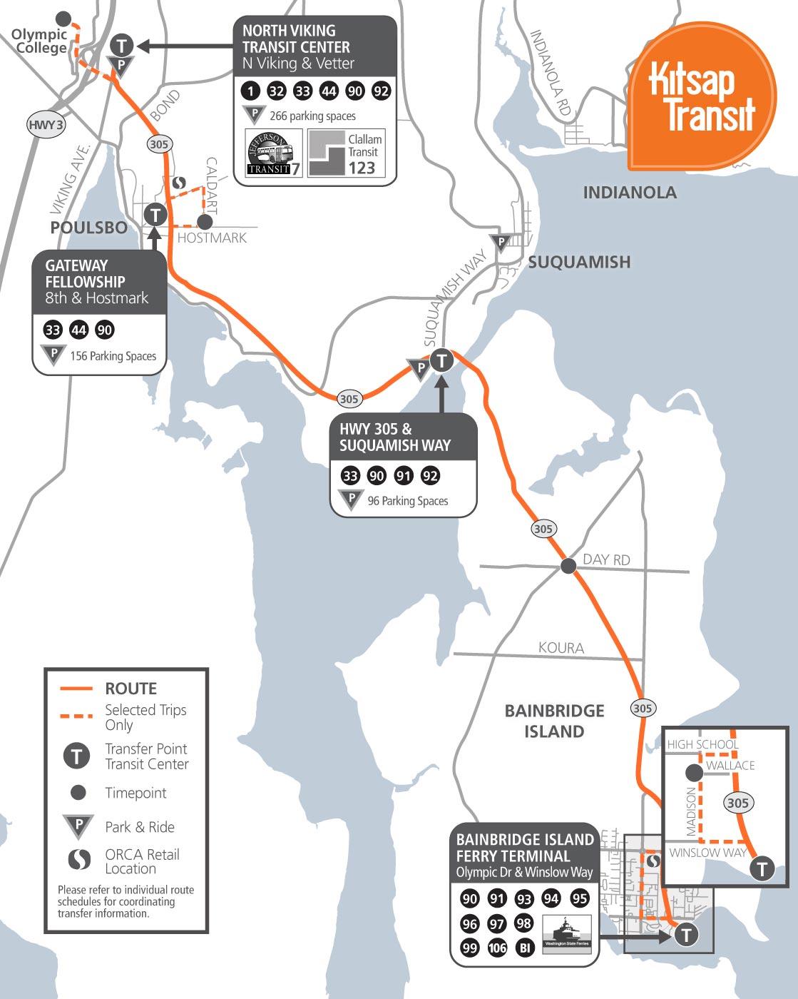 90 Poulsbo Bainbridge Kitsap Transit