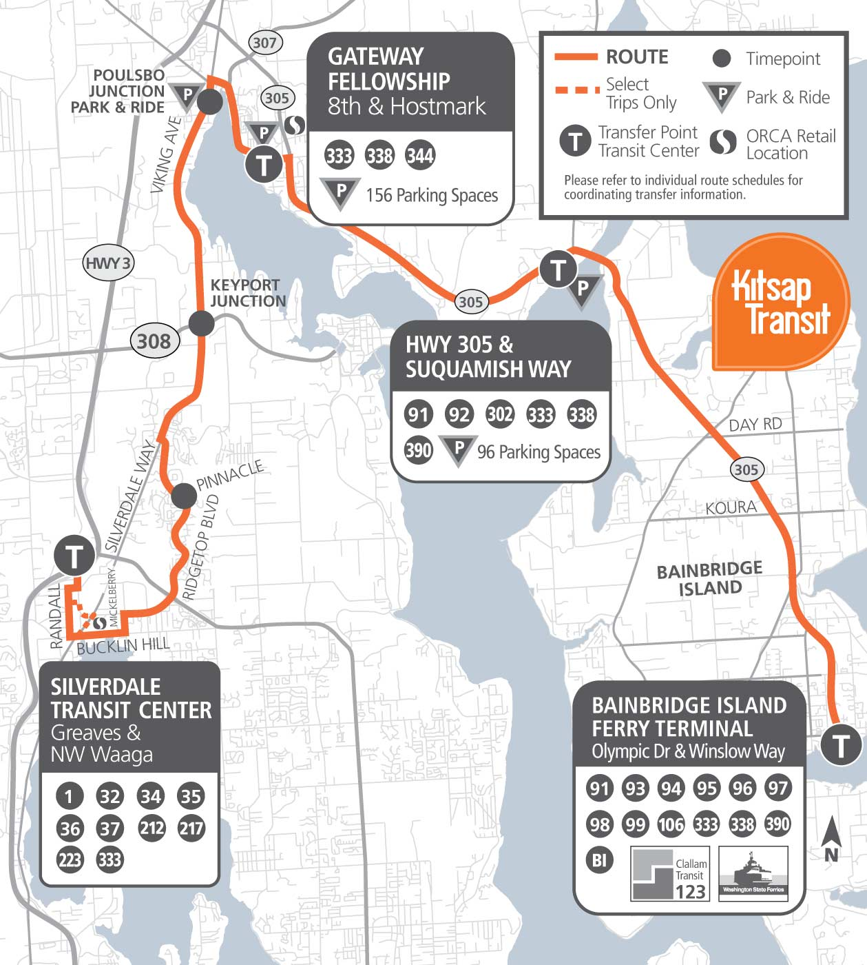 333 - Silverdale/Bainbridge | Kitsap Transit  Bus Route Map on