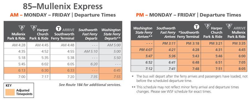 Route 85 Schedule Change June 11