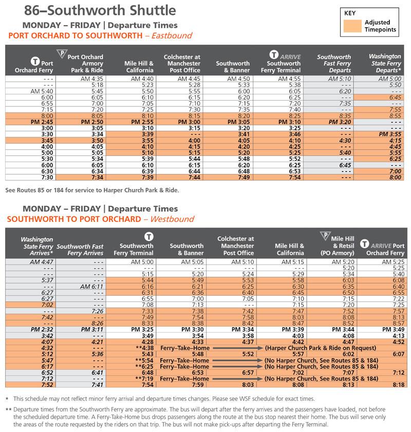 Route 86 Schedule change June 11
