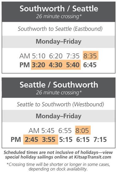 Southworth Fast Ferry Schedule Change June 11