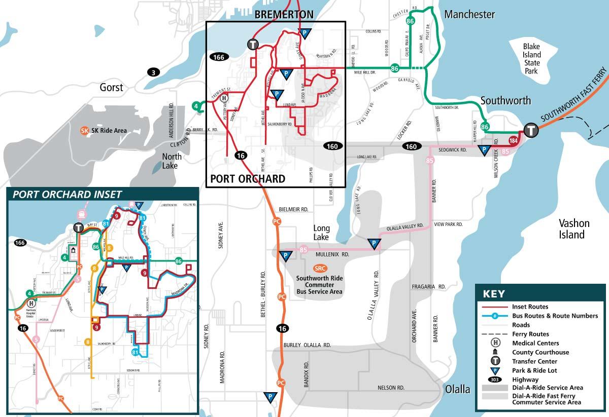 Kitsap Transit South Kitsap Route Map