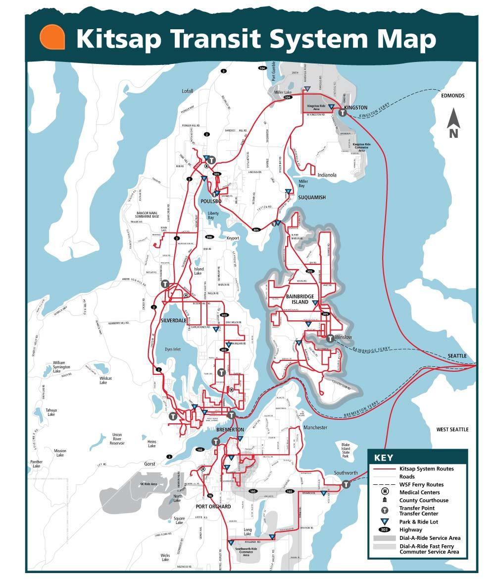 Kitsap Transit Red Line System Map